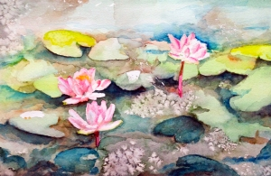 LilyPads watercolor painting by Rita Spiegel