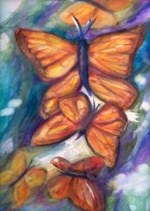 Musical Wings watercolor painting by Rita Spiegel
